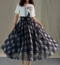 High Waisted BLACK PLAID Skirt Long Tulle Black Plaid Skirt Outfit Plus Size image 1
