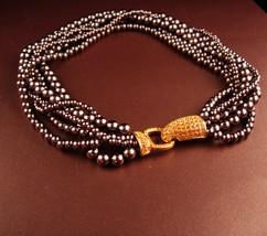 Couture Pearl necklace - 100 rhinestone clasp - 6 strand bronze graduate... - $125.00