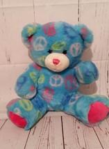 Build A Bear Workshop Tye Dye Peace Symbol Bear Blue Pink Green White 11 IN  - $2.92