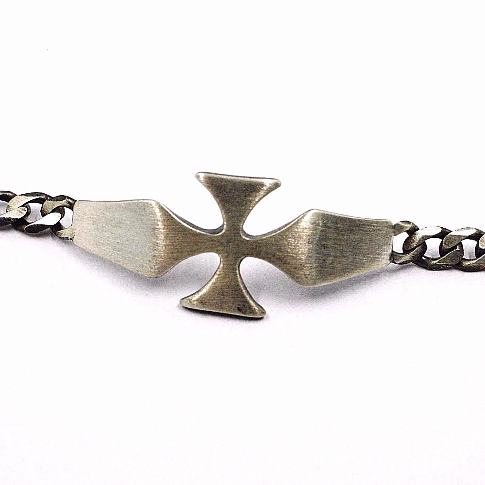 SILVER 925 BRACELET, BURNISHED AND SATIN, CROSS CENTRAL AND GRUMETTA