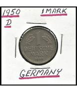 1950 D, West Germany (FRG) 1 Mark coin - $5.10