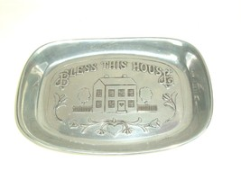 """Serving Tray Wilton Armetale """"Bless This House"""" Vtg RWP Bread/Biscuits/Bun  - $14.80"""