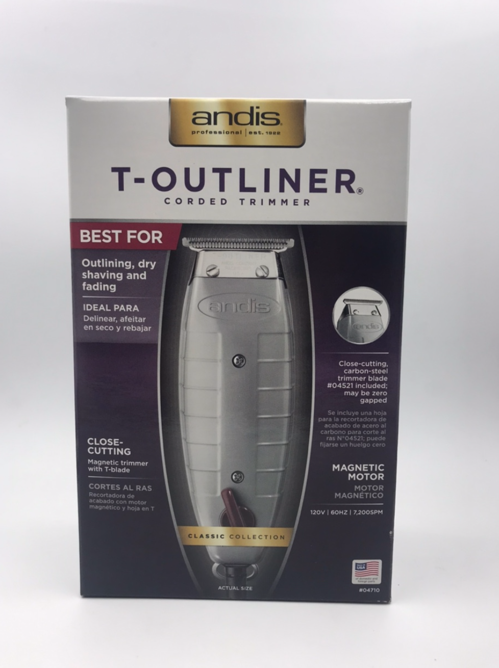 Primary image for ANDIS T - OUTLINER CORDED TRIMMER #04710 MADE IN USA BEST FOR DRY SHAVING, FADIN
