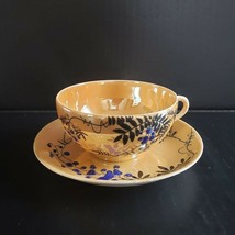 Vintage Peach Lusterware Tea Cup and Saucer Hand Painted Moriage Berry P... - $19.99