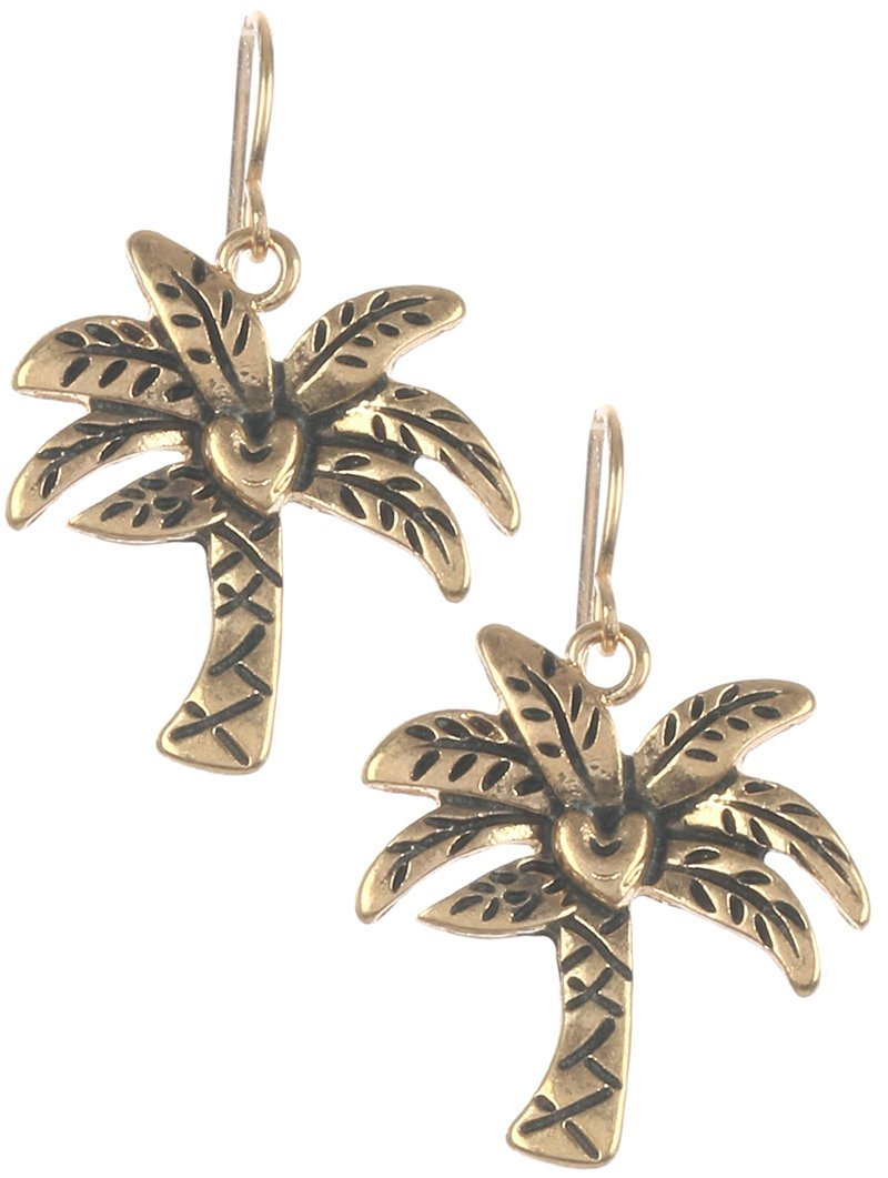 Fun! Spring Summer Etched Palm Tree Fish Hook Dangle Earrings