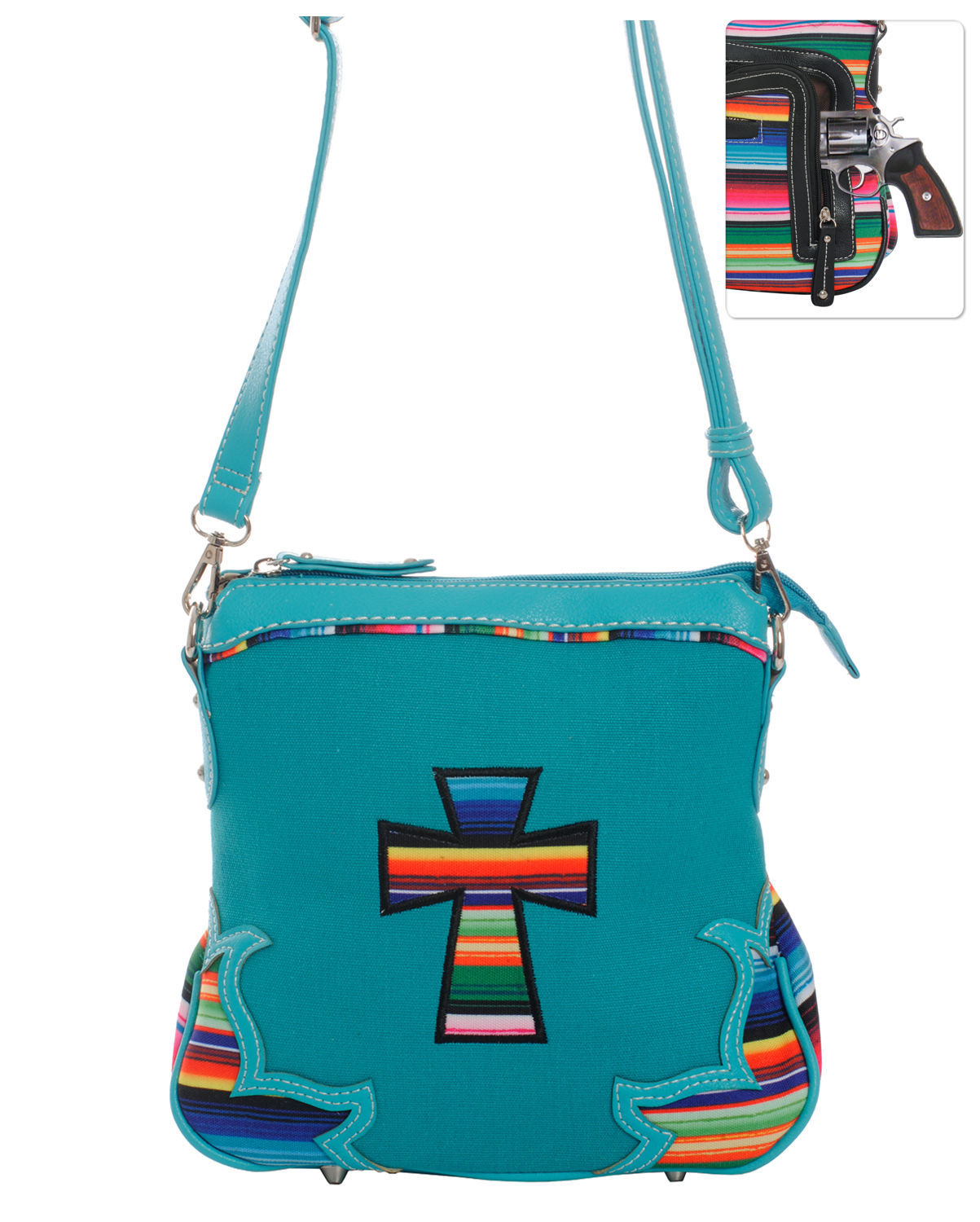 Serape Striped Messenger Bag Cross Body Purse Turquoise Concealed Gun Pocket