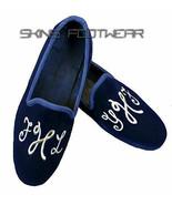 Men's Handmade Slippers Embroidered Loafers Blue Velvet Silver Motif Shoes - $214.99