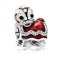 925 Sterling Silver Chinese Dancing Lion with Red Enamel Charm Bead  - €15,58 EUR+