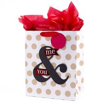 Valentine's Day Large Gift Bag with Tissue Paper (You & Me On Dots) - $14.99