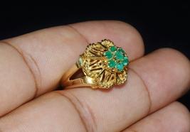 Estate 18K 750 Solid Gold Green Stone Retro Dome Bombay Wire Filigree Ring 1950s - $350.00