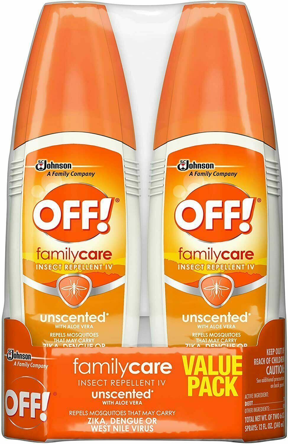OFF Family Care Mosquito Insect Repellent Spray Unscented W/ Aloe 6oz TWIN PACK