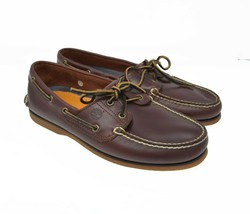 Timberland Men's Sz 10 EU 44 Brown Smooth Leather Slip On Boat Shoe Loafers - $44.99