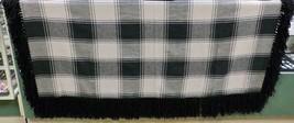 "Native American Hand Made Wool Shawl Black Tan Plaid Fringe 63""x 60"" Med... - $79.99"