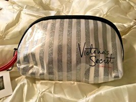 Victoria's Secret cosmetic makeup bag silver white striped glitter New - $12.19
