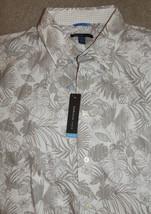 New Van Heusen Studio XL Shirt Slim Fit Button-Front Palm Leaves Long Sl... - $22.19