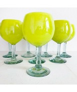 8 - Crate and Barrel Wine Goblets Large Yellow Margarita Glasses Vintage Mexico - £106.35 GBP