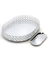 Lindlemann Mirrored Crystal Vanity Tray - Ornate Decorative Tray for Per... - $38.61