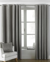 PLAIN WOVEN GREY LINED RING TOP CURTAINS *8 SIZES* - $50.84+
