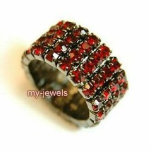 4 Row Dark Red Stretch Bridal Fashion Rhinestone Ring XR919 - $16.24