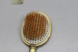 Vintage 4 Piece Vanity Set Gold Tone Trinket Jewelry Box Comb Brush Mirror image 3