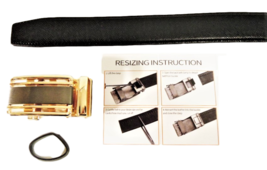 Men's Beautiful Dressy Black Leather Belt with Sparkling Gold Buckle image 2