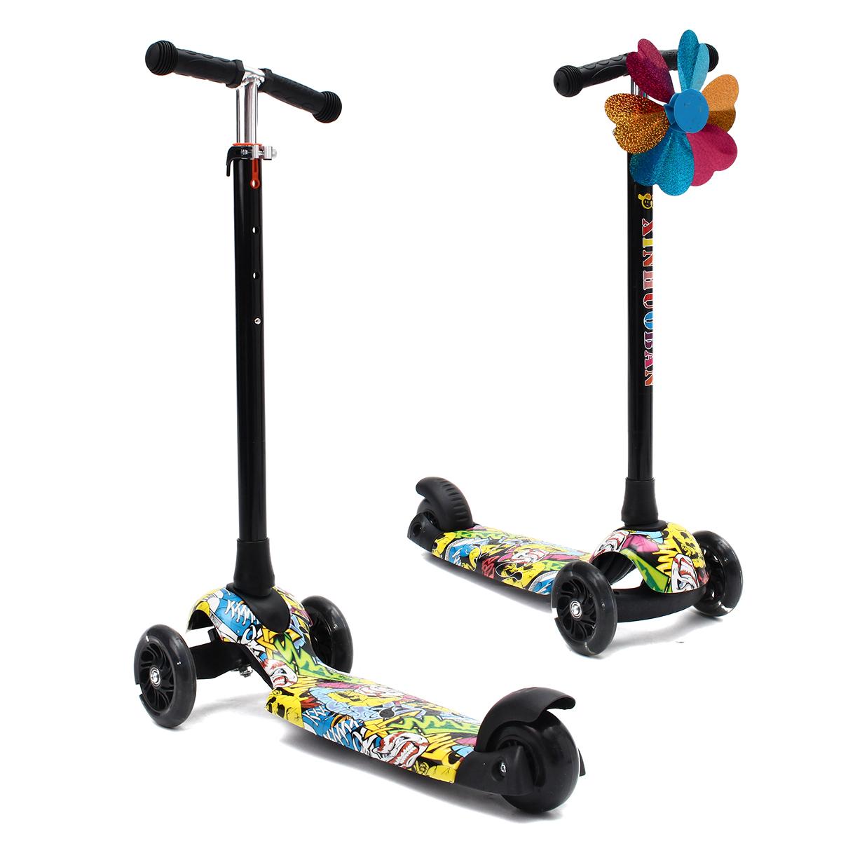BIKIGHT Kids Folding Flashing 3 Wheels Tricycle Kick Push Children Scooter Kickb