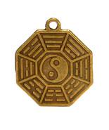 "YIN YANG FENG SHUI CHARM 0.75"" Brass Pendant Bagua Protection Good Luck ... - $5.95"