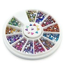 Nail Art Triangle Rhinestones Glitter Faux Crystal Gems 3D Tips Manicure... - $9.89