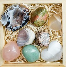 Premium Grade Crystals and Healing Stones in Wooden Box for Fertility, New Moon,