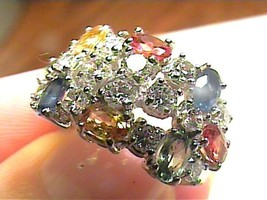 natural multi color gem ring SILVER 925 RING WHITE gold  SAPPHIRE 7 STER... - £55.16 GBP