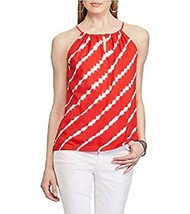 Chaps Womens Large Yacht Red White Stripes Tie Dye Sleeveless Tank Halter Top  - $9.89