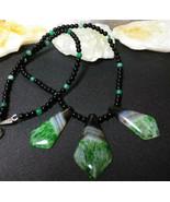 Necklace Black Onyx with Druzy Quartz Pendants Natural Stone  Handmade - $28.80