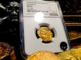 Colombia 1665 Partially Dated! 2 Escudos Ngc 64 Gold Cob Treasure Doubloon Coin - $2,850.00
