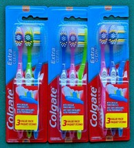 Lot 3 Colgate Extra Clean Soft Bristles Toothbrush Value Pack Assorted Colors - $9.49