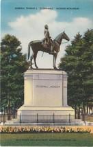 Richmond Virginia VA Stonewall Jackson Monument Postcard Linen Colourpicture - $3.53