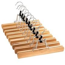 High-Grade Wooden Pants Hangers with Clips 10 Pack Non Slip Skirt Hanger... - $26.00