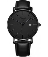 SONGDU Men's Ultra-Thin Quartz Analog Date Wrist Watch with Black Leathe... - $85.69