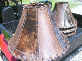 Leather and Cowhide Lamp Shade Southwestern Decor 0316 bz - $169.98