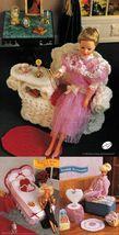 3X Hearts & Bows Bed Set Boudoir Wicker Gossip Bench Barbie Doll Crochet Pattern - $9.99