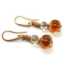 Earrings Antica Murrina Venezia, Hanging Spheres Amber Murano Glass OR424A10 image 3