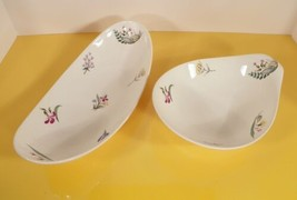 Hall Bouquet Lugged Soup Bowl AND Celery Dish Hallcraft Eva Zeisel Mid C... - $28.66
