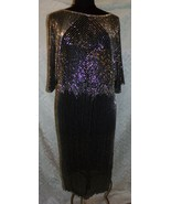 Jenny Gidding Heavily Beaded Womens Dress Astonishing M Semi Sheer Vtg F... - $96.13