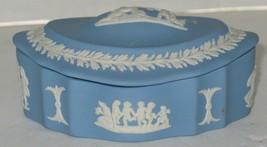 Vintage Wedgwood Jasperware Cream on Blue Porcelain Trinket Box Made in England - $28.71