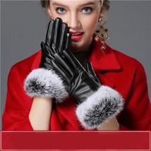 Women Gloves Mitten Autumn Winter Warm Rabbit Fur Wrist Touched Velvet F... - $11.93