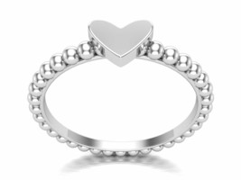 Solid Silver Heart beaded shank Eternity Band Ring Engagement Valentine ... - $14.73+