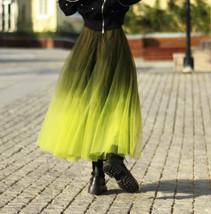 OLIVE GREEN Full Tulle Skirt Green Tie Dye Long Tulle Skirt High Waisted A Line  image 4