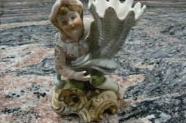 Lovely Vintage Ardalt Bisque Vase with Man Kneeling Made in Japan - $18.80