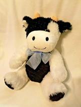Dan Dee Cow Plush Stuffed Animal Sitting Black White Corduroy Tummy Blue... - $19.76