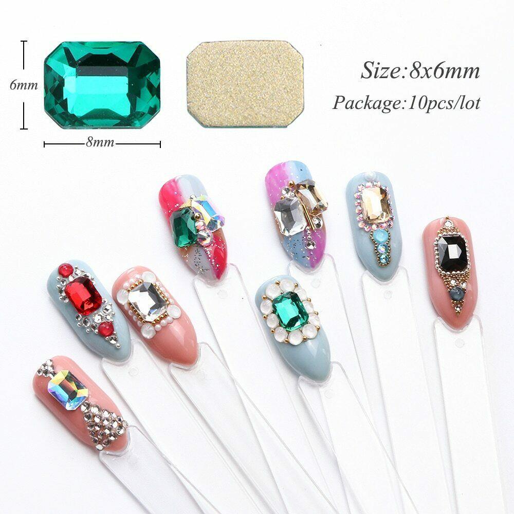 10pcs Nail Rhinestone Gem Stone Rectangle Big Flat Shiny Crystal Nail Art Decor