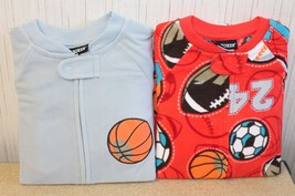 2 NEW BOYS TODDLERS SIZE 4T SPORTS FOOTBALL SOCCER BASEBALL FOOTED PAJAMAS - $8.79